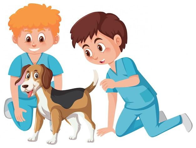 Dierenarts die voor hond zorgt