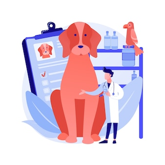 Dierenarts kliniek abstract concept vectorillustratie. dierenkliniek, chirurgie, vaccinatiediensten, dierenkliniek, medische zorg voor huisdieren, veterinaire dienst, diagnostische apparatuur abstracte metafoor.