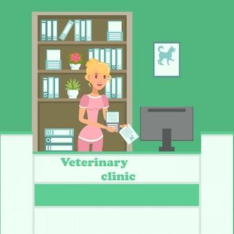 Dierenarts kliniek interieur vlakke kleur vectorillustratie