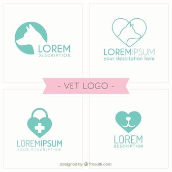 Dierenarts logo templates in platte ontwerp