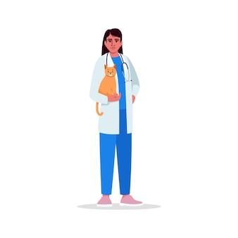 Dierenarts semi rgb-kleurenillustratie. medisch personeel. vrouwelijke dokter. dierenarts. jonge spaanse dierenarts stripfiguur op witte achtergrond