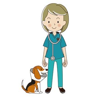 Dierenarts vrouw met een beagle hond in de kraag.