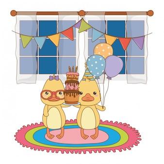 Dierenbeeldverhalen met gelukkige verjaardagscake