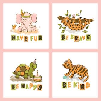 Dierenkaart set cute cartoon circus zoo