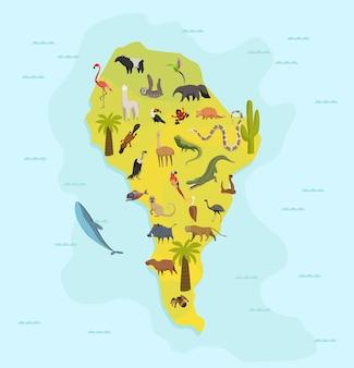 Dierenkaart van zuid-amerika. natuur fauna cartografie concept. geografische kaart met lokale fauna. continent met zoogdieren en zeeleven. vectorillustratie in kinderstijl.