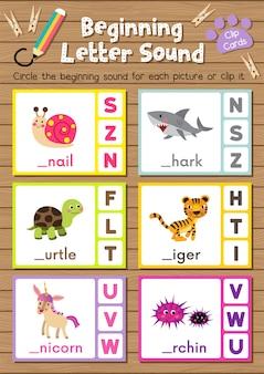 Dierenklemkaarten die overeenkomen met het spel met het geluid van de beginletter
