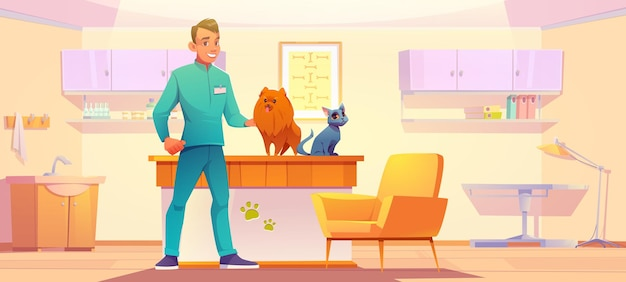 Dierenkliniek kabinet met dieren en dokter dierenarts man met hond en kat in zijn kantoor huisdieren medi...