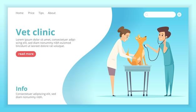 Dierenkliniek landing. dokter examen gelukkige huishond puppy gezondheidszorg specialist