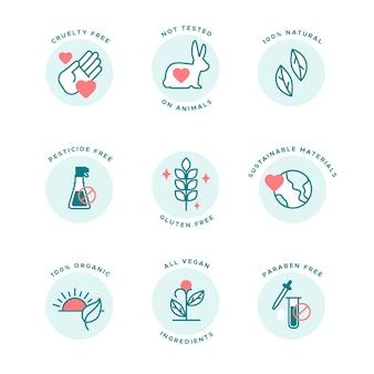 Dierenmishandeling gratis badges platte ontwerpcollectie