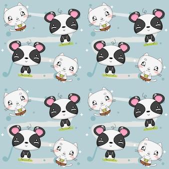 Dierenpatroon met kitten en panda