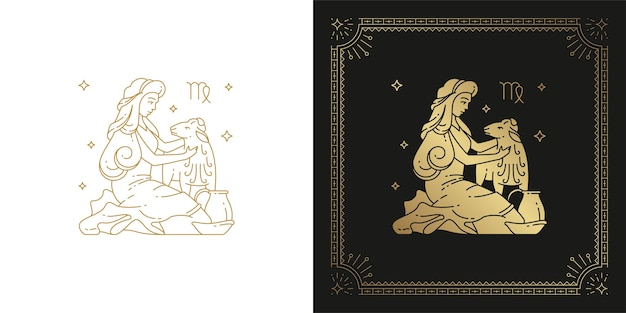 Dierenriem maagd horoscoop teken lijntekeningen silhouet ontwerp illustratie