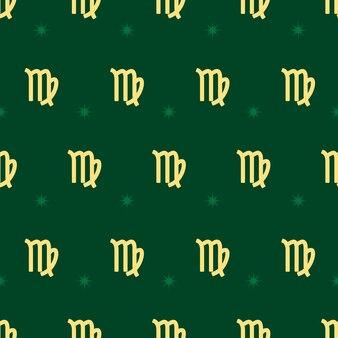 Dierenriem naadloos patroon. herhalend maagd gouden bord met sterren op de groene achtergrond. vector horoscoop symbool