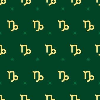 Dierenriem naadloos patroon. herhalend steenbok gouden bord met sterren op de groene achtergrond. vector horoscoop symbool