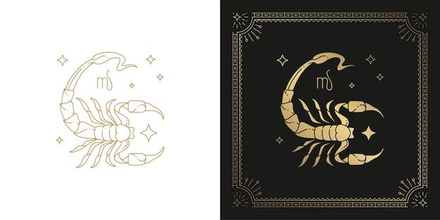 Dierenriem schorpioen horoscoop teken lijntekeningen silhouet ontwerp illustratie