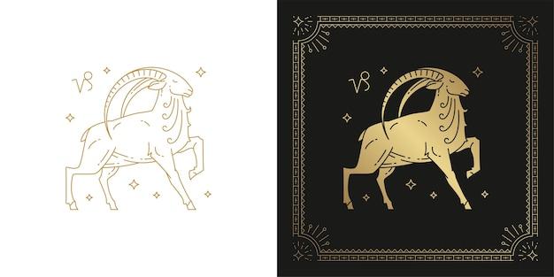 Dierenriem steenbok horoscoop teken lijntekeningen silhouet ontwerp illustratie