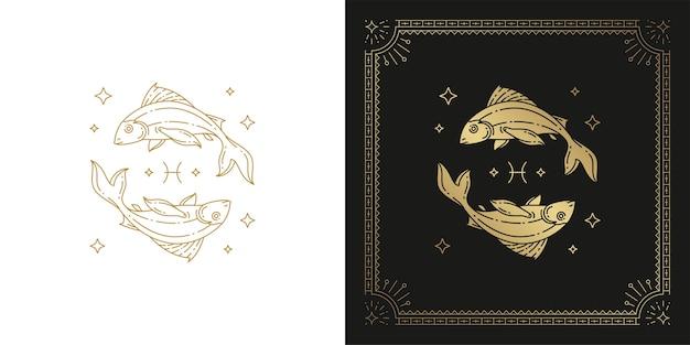 Dierenriem vissen horoscoop teken lijntekeningen silhouet ontwerp illustratie