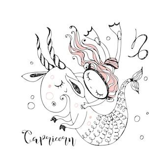 Dierenriem voor kinderen. teken van steenbok. een meisje zwemt met een fantastische steenbok.
