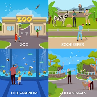 Dierentuin en oceanariumscènes