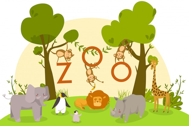 Dierentuindieren, schattige stripfiguren, leeuw, apen en pinguïns, illustratie