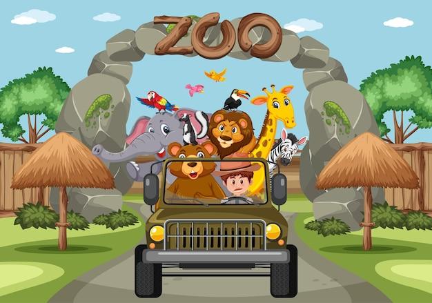 Dierentuinscène met vrolijke dieren in de auto