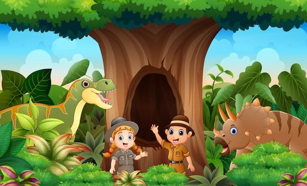 Dierenverzorgers en dieren in de jungle