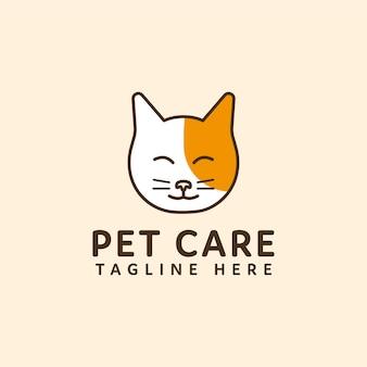 Dierenverzorging logo kat hoofd vector ontwerp
