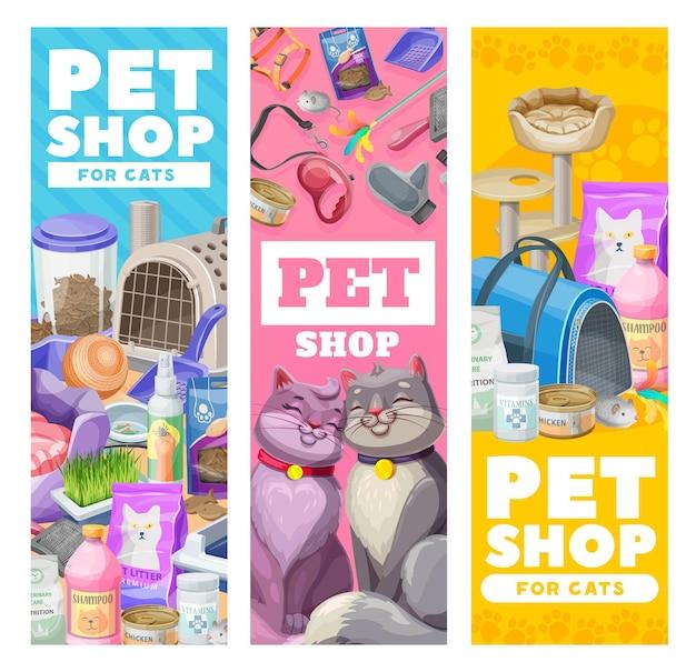 Dierenverzorgingsbanners, kattenverzorgingsartikelen en speelgoed. vector dierentuin winkel goederen voor katten en kitten. uitrusting voor kattenvoer, zak en gras, riem met shampoo en klauwenslijper ad promokaarten