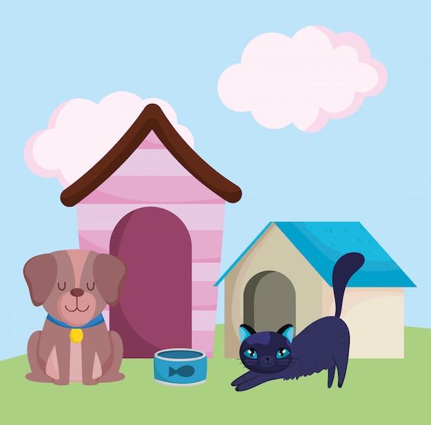 Dierenwinkel, bruine hond en kat met huizen en voedseldieren binnenlandse cartoon