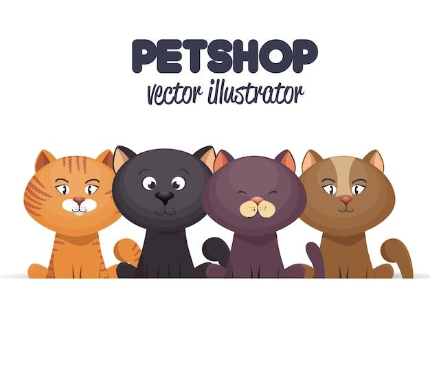 Dierenwinkel embleem met kittens ontwerp