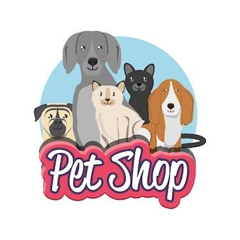 Dierenwinkel groep huisdieren dieren