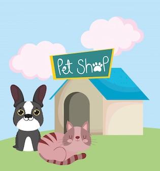 Dierenwinkel, hond en slapende kat met huis dierlijk beeldverhaal