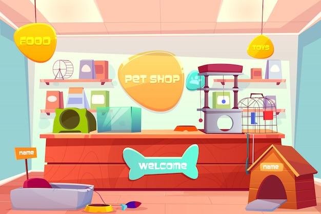 Dierenwinkel interieur, huisdier opslag met balie, accessoires, voedsel, kat en hond huizen