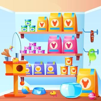 Dierenwinkel interieur met krabpaal voor katten speelgoed kom voer in zak en blikjes cartoon afbeelding van winkel met accessoires voor huisdieren aquarium voor vissen halsband voor honden ballen