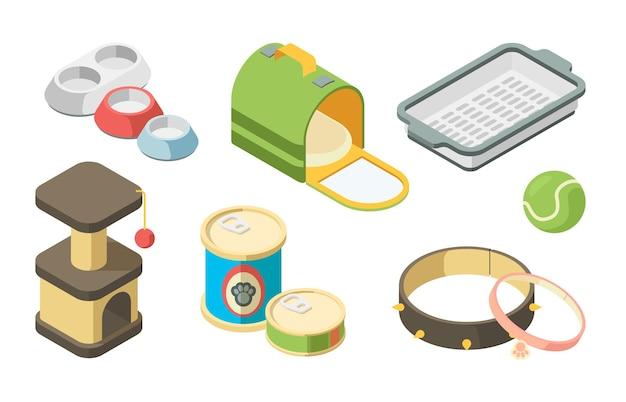Dierenwinkel isometrisch. speelgoedborstels voor het verzorgen van borstelshampoo en ingeblikt voedsel voor huisdieren hondenkatten papegaaivissen vectorset. illustratie van verzorgings- en verzorgingsaccessoires
