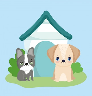 Dierenwinkel, kleine schattige puppy's met houten huis dierlijk huiselijk beeldverhaal
