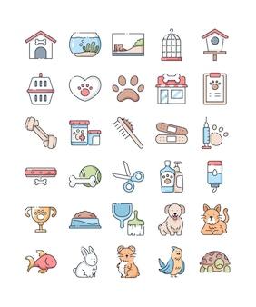 Dierenwinkel lijn gekleurde pictogrammen instellen