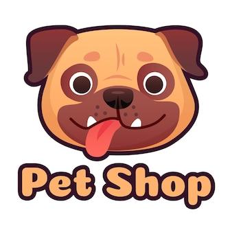 Dierenwinkel logo ontwerp met pug gezicht Premium Vector