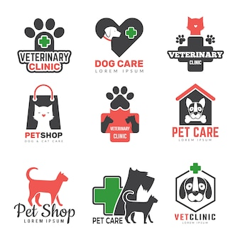 Dierenwinkel logo. veterinaire kliniek voor huisdieren honden katten bescherming symbolen sjabloon