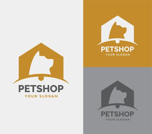 Dierenwinkel met hond silhouet logo vector