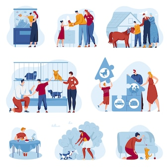 Dierenwinkel winkel vector illustratie set, platte familie eigenaar stripfiguren aannemen dakloze dieren onderdak