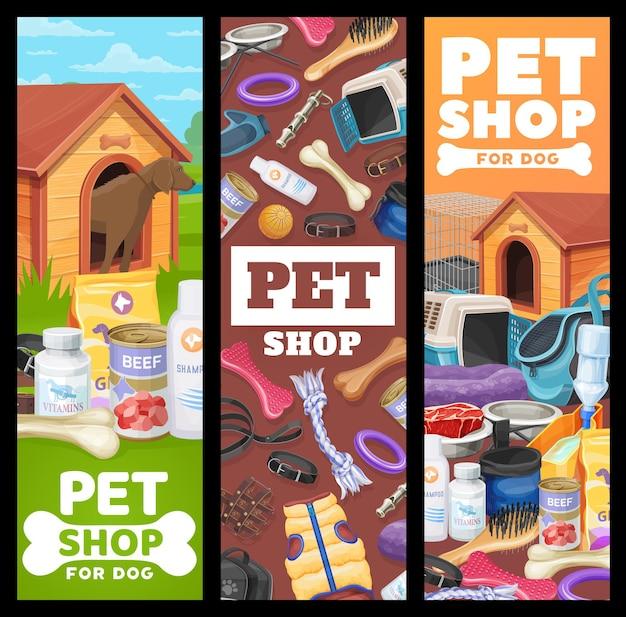 Dierenwinkelbanners, hondenverzorgingsvectoradvertentie-promokaarten met items en speelgoed voor puppy's. dierentuinartikelen voor honden, uitrusting voor huisdierenvoer, hokje, botten en riem met muilkorf en halsbanden Premium Vector