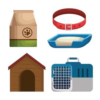 Dierenwinkelproducten stellen pictogrammen in