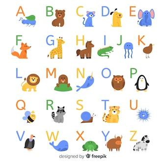 Dierlijk alfabet met wilde dieren