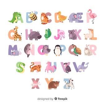Dierlijk alfabet met zoogdieren en vogels