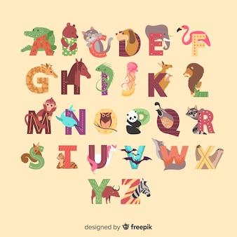 Dierlijk alfabet van geïllustreerde a