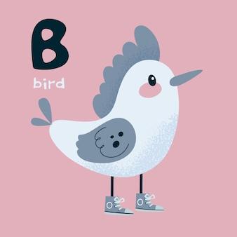 Dierlijk alfabet. vogelspecht. letter b.