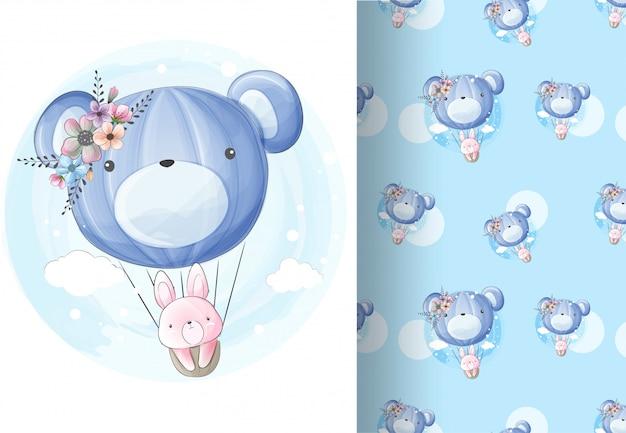 Dierlijk konijn vliegen op de ballon