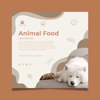 Dierlijk voedsel kwadraat flyer-sjabloon