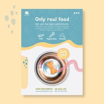 Dierlijk voedsel verticale flyer ontwerpsjabloon