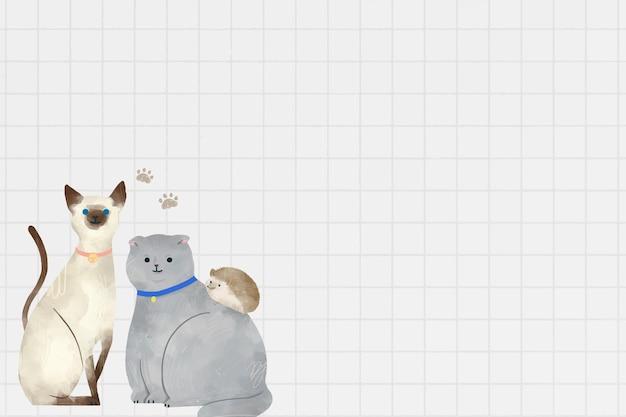 Dierlijke achtergrond met schattige huisdierenillustratie pets